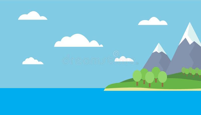 Opinión de la historieta de la montaña de una isla en el mar con las colinas verdes, ilustración del vector
