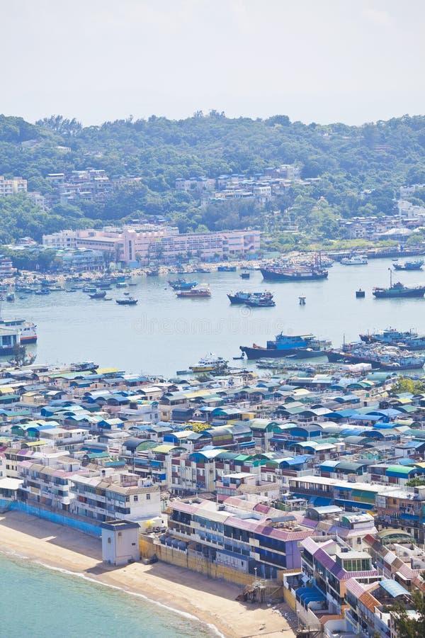 Opinión de la isla de Cheung Chau de la cumbre, Hong-Kong. foto de archivo