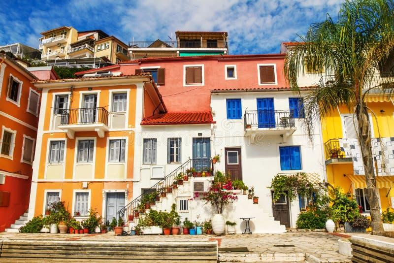 Opinión de la mañana de Parga, Grecia fotos de archivo libres de regalías