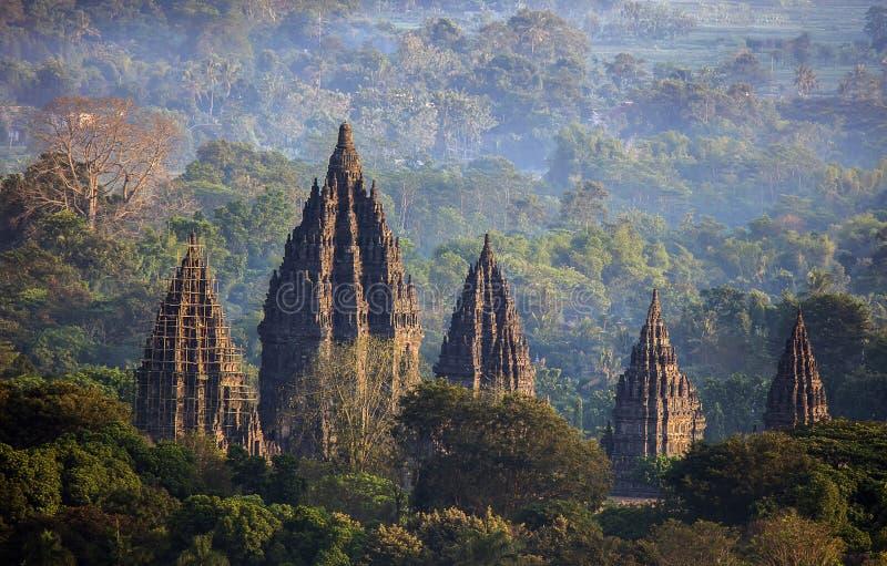 Opinión de la mañana del templo Yogyakarta Indonesia de Prambanan imagenes de archivo