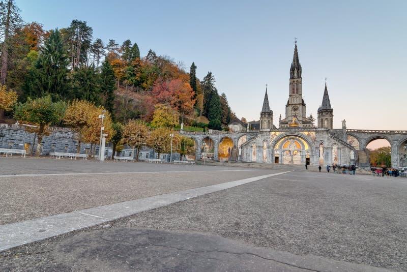 Opinión de la madrugada Lourdes Sanctuary fotografía de archivo libre de regalías