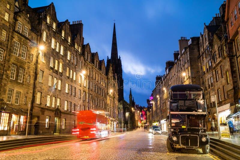 Opinión de la milla real histórica, Edimburgo de la calle fotografía de archivo libre de regalías