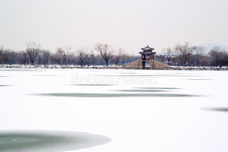 Opinión de la nieve del palacio de verano imagenes de archivo