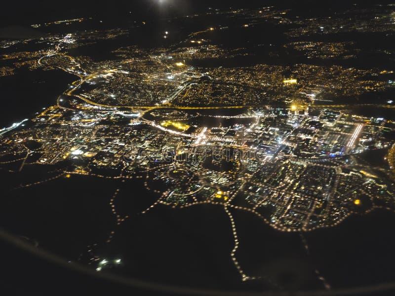 Opinión de la noche de la ciudad de Estocolmo foto de archivo