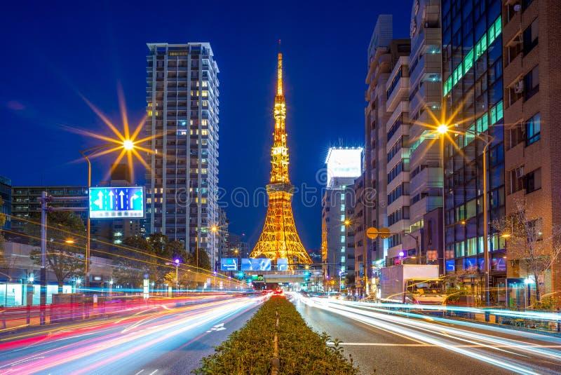 Opinión de la noche de la ciudad de Tokio, Japón imágenes de archivo libres de regalías