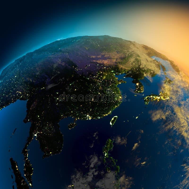 Opinión de la noche de Asia de stock de ilustración