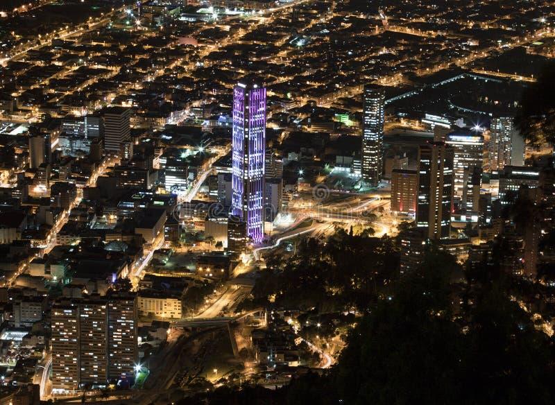 Opinión de la noche de Bogotá foto de archivo libre de regalías