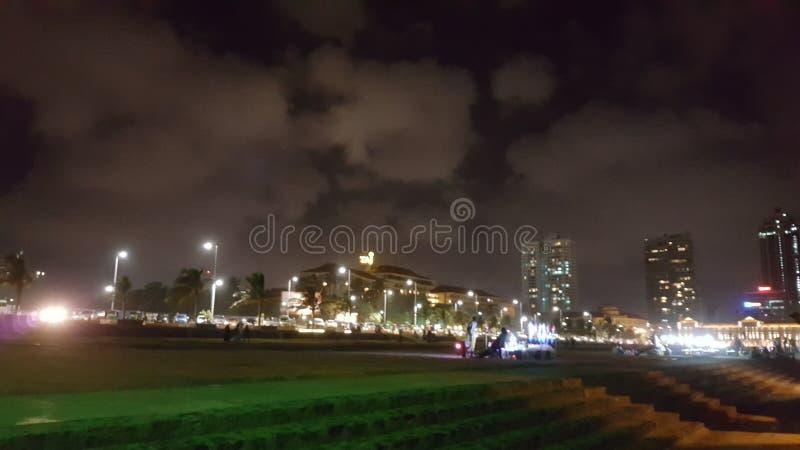 Opinión de la noche de Colombo Galle Face fotografía de archivo libre de regalías