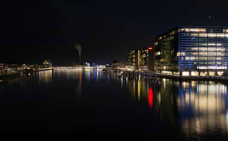 Opinión de la noche de Copenhague foto de archivo libre de regalías