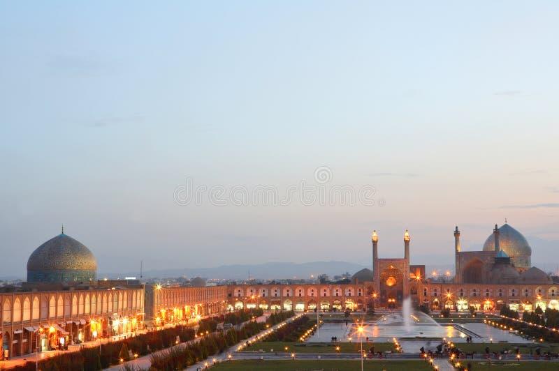 Opinión de la noche de Esfahan, Irán imagenes de archivo
