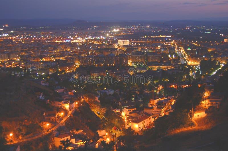 Opinión de la noche de Granada imagenes de archivo