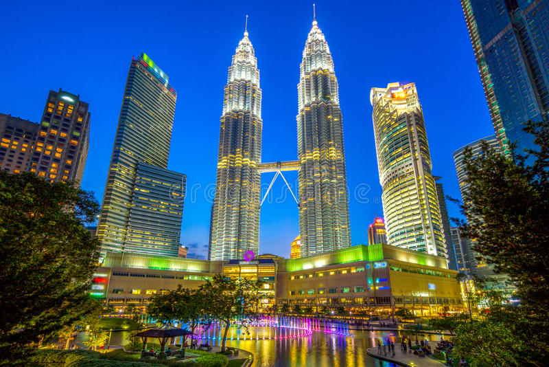 Opinión de la noche de Kuala Lumpur foto de archivo libre de regalías