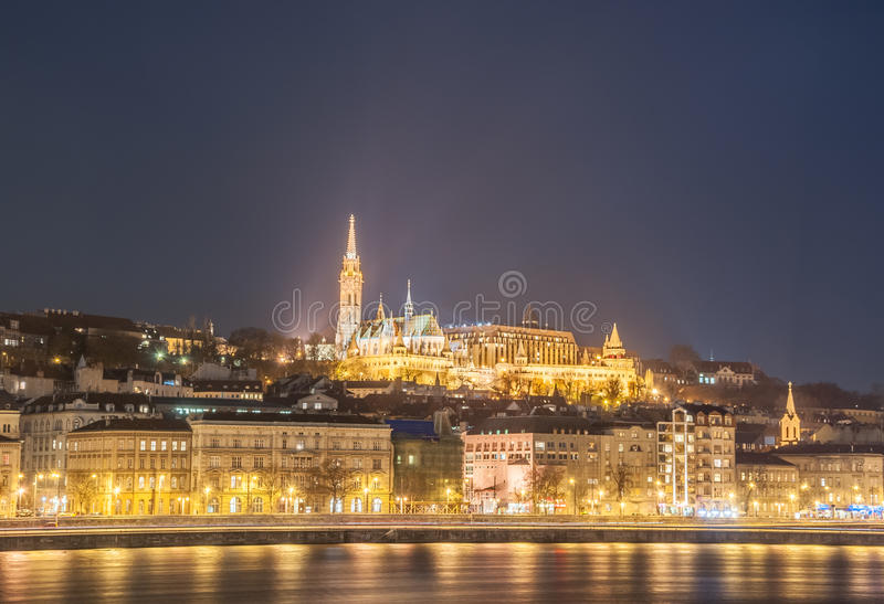 Opinión de la noche de la Budapest, Hungría foto de archivo libre de regalías