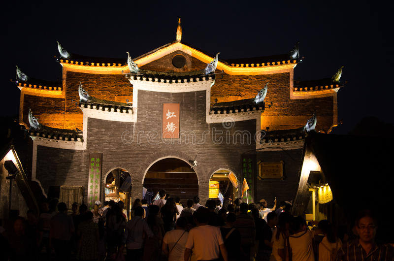 Opinión de la noche de la ciudad antigua del fenghuang imagen de archivo libre de regalías