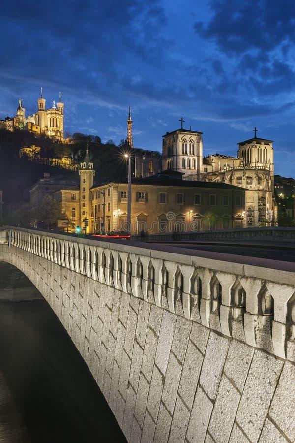 Opinión de la noche de la ciudad de Lyon fotos de archivo libres de regalías