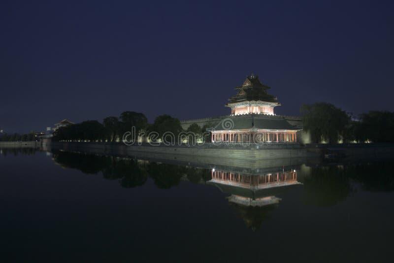 Opinión de la noche de la ciudad Prohibida fotografía de archivo libre de regalías