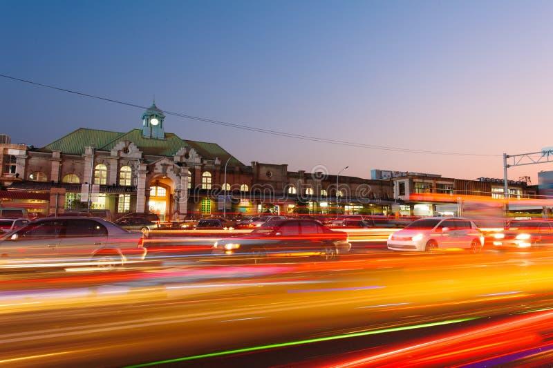Opinión de la noche de la estación de Hsinchu fotos de archivo