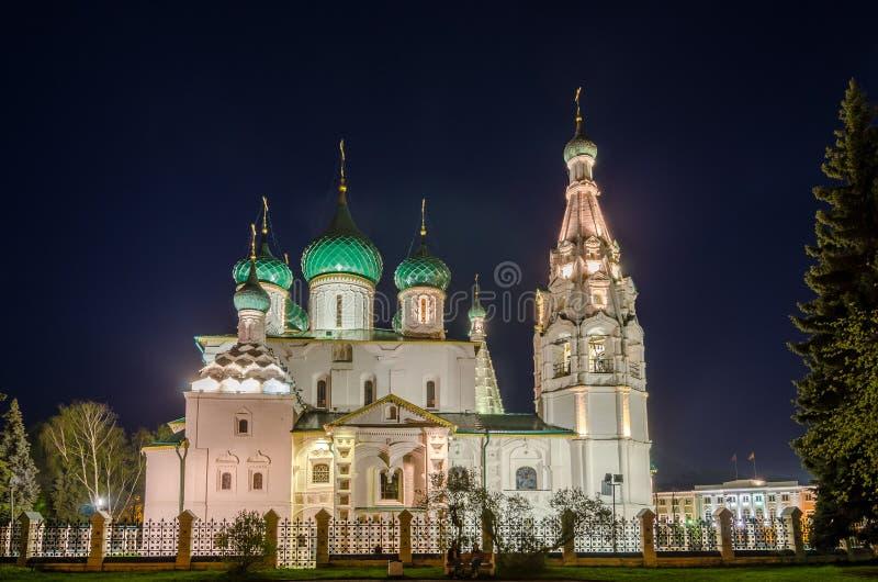 Opinión de la noche de la iglesia de Elías el profeta en Yaroslavl, Rusia foto de archivo libre de regalías