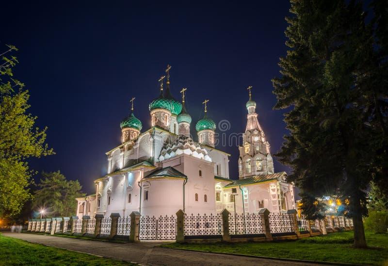 Opinión de la noche de la iglesia de Elías el profeta en Yaroslavl, Rusia imágenes de archivo libres de regalías