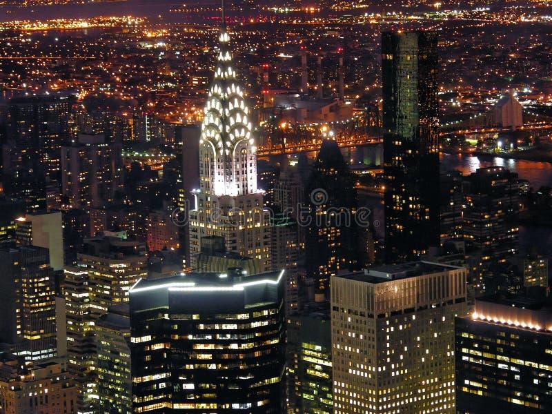 Opinión de la noche de New York City imagen de archivo libre de regalías