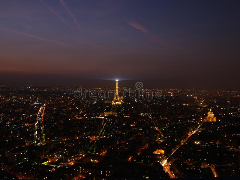Opinión de la noche de París fotografía de archivo