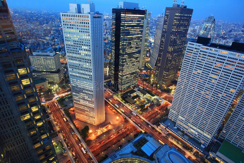 Antena de la noche de la ciudad de Tokio, Japón fotografía de archivo