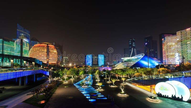 Opinión de la noche del balcón de la ciudad de la provincia de Hangzhou, Zhejiang foto de archivo