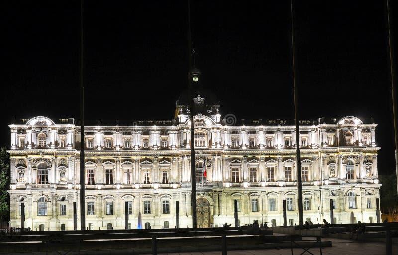 Opinión de la noche del edificio de la prefectura de Marsella, Francia imagen de archivo libre de regalías
