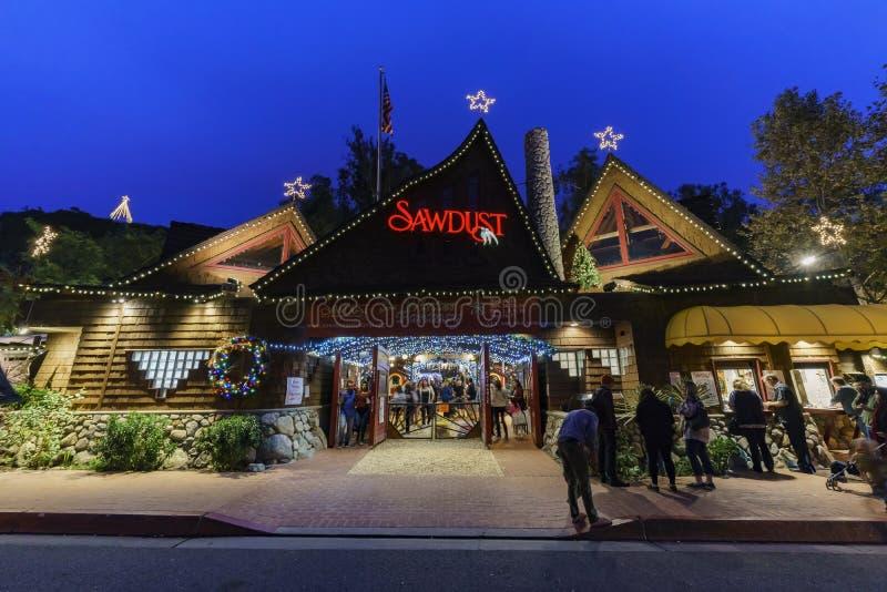 Opinión de la noche del festival del invierno del arte del serrín en el Laguna Beach fotos de archivo libres de regalías