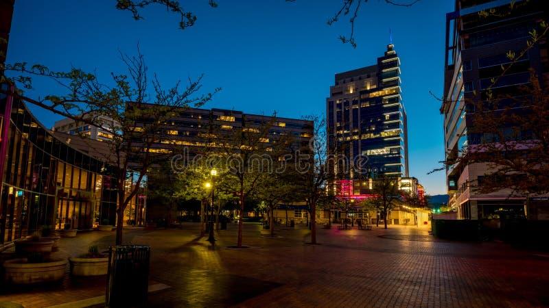 Opinión de la noche del patio céntrico de Boise Idaho foto de archivo