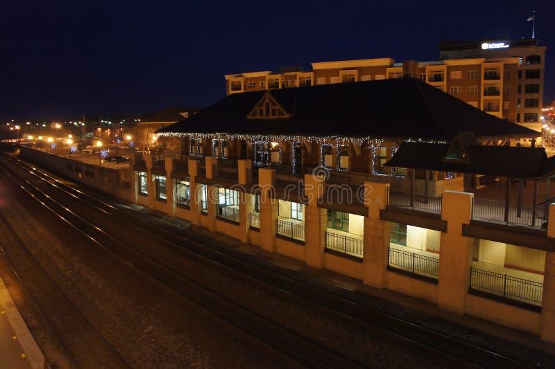 Opinión de la noche de la estación de Lafayette fotos de archivo