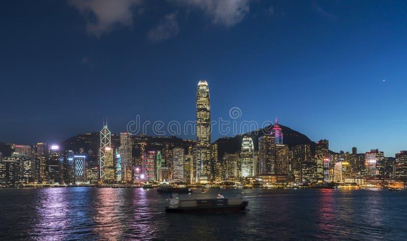 Opinión de la noche de Hong Kong Victoria Harbor fotos de archivo