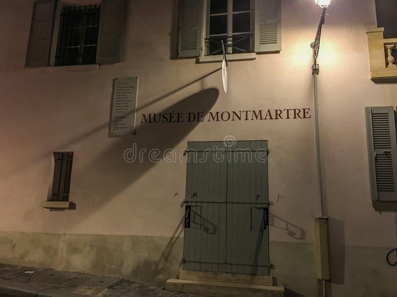 Opinión de la noche, museo ( de Montmartre; Musee de Montmartre) fotos de archivo libres de regalías
