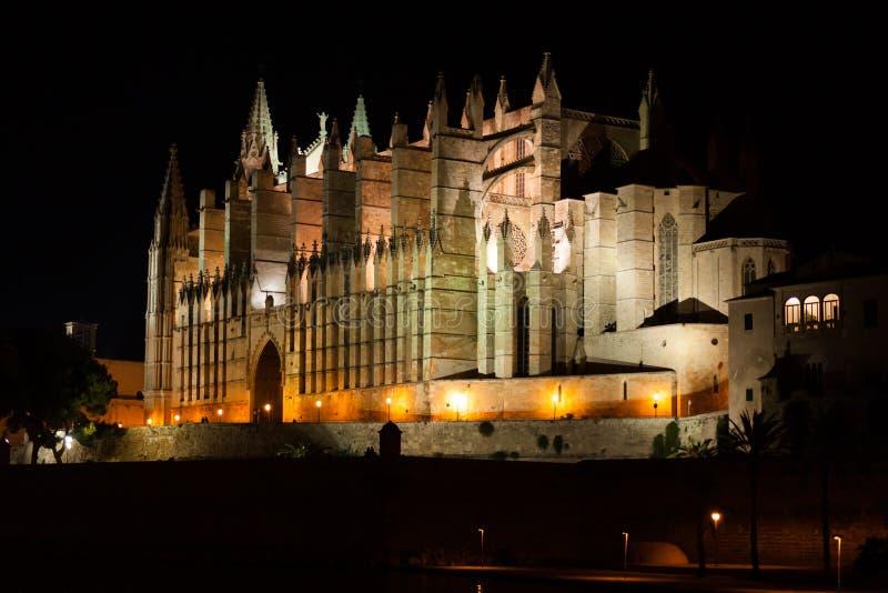 Opinión de la noche Palma de Mallorca Cathedral, La Seu, del la marcha de Parc de Palma, Majorca fotografía de archivo