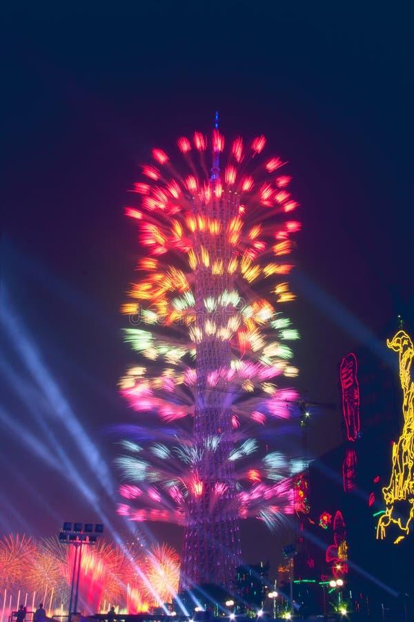 Opinión de la noche de la torre del cantón en Guangzhou China fotos de archivo libres de regalías