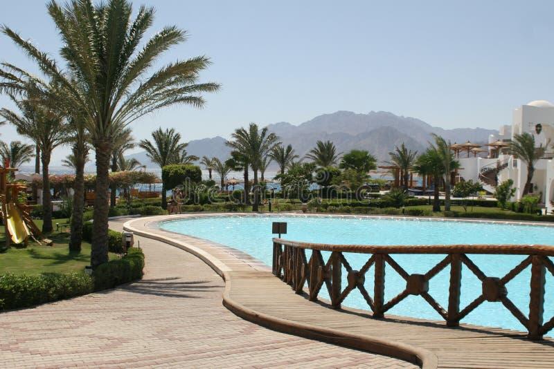 Opinión de la piscina en un hotel de la playa fotografía de archivo