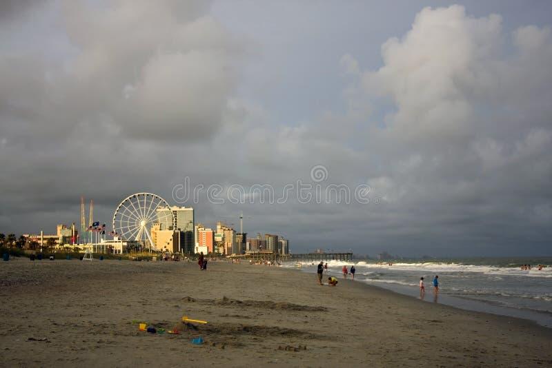 Opinión de la playa de la ciudad de Myrtle Beach, Carolina del Sur, los E.E.U.U. foto de archivo
