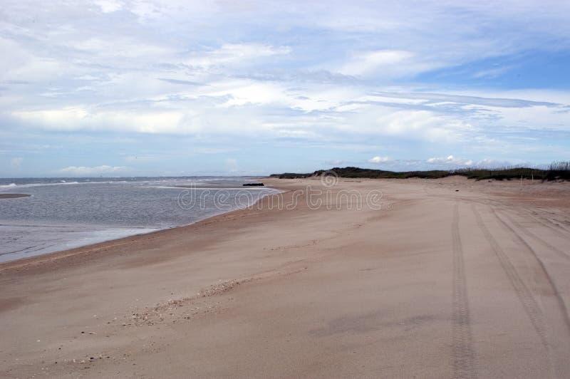 Opinión de la playa con las pistas del neumático fotografía de archivo libre de regalías