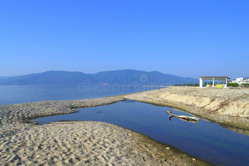 Opinión de la playa de Asprovalta fotografía de archivo