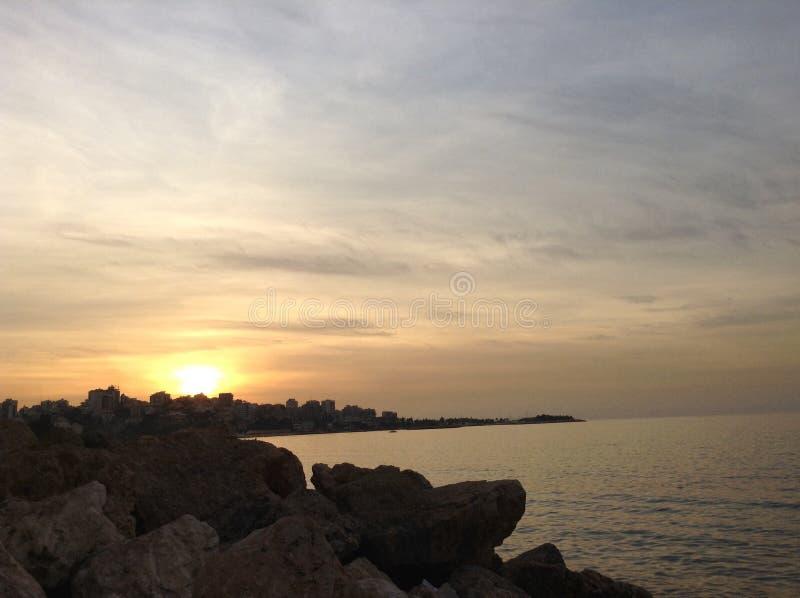 Opinión de la puesta del sol foto de archivo libre de regalías