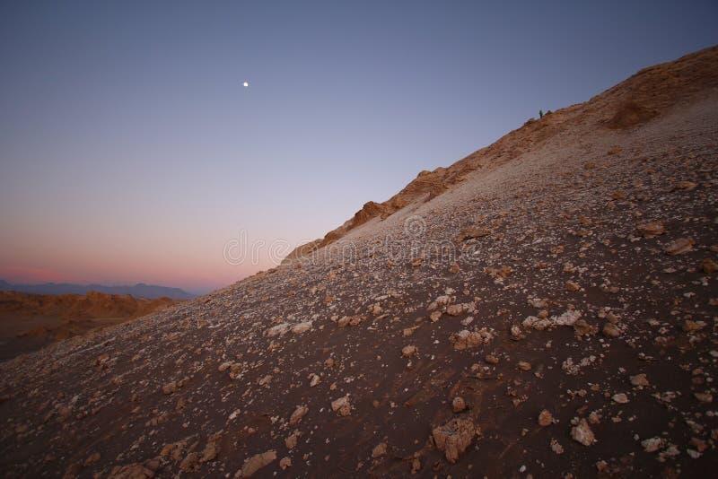 Opinión de la puesta del sol del desierto de Atacama, Chile fotos de archivo