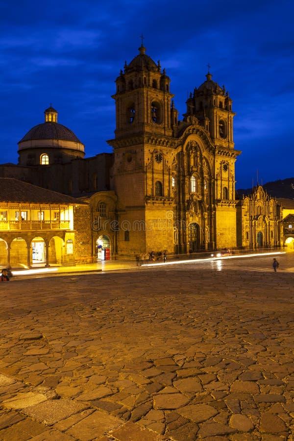 Opinión de la puesta del sol Iglesia de la Compania de Jesús, Cusco, Perú fotos de archivo libres de regalías