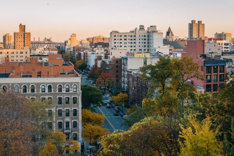Opinión de la puesta del sol del otoño sobre Harlem de Morningside Heights en Manhattan, New York City fotografía de archivo libre de regalías