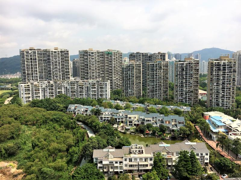 Opinión de la residencia de Shenzhen del top foto de archivo libre de regalías