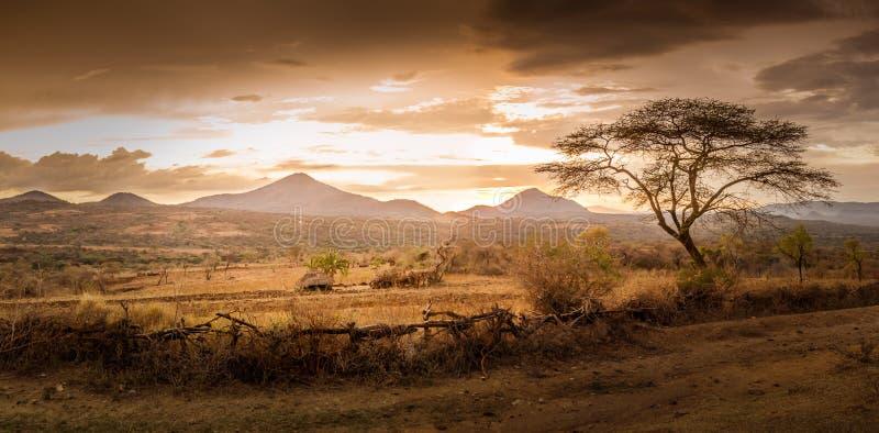 Opinión de la tarde del territorio de la tribu Bana fotos de archivo