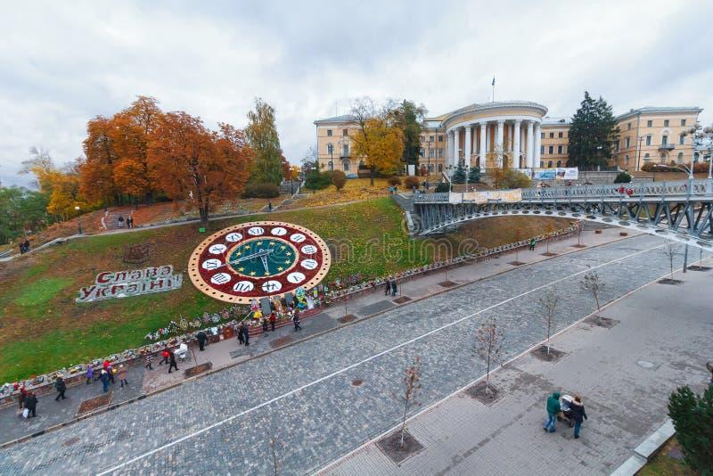 Opinión de la tarde sobre la calle de Institutskaya del cuadrado de la independencia K fotos de archivo