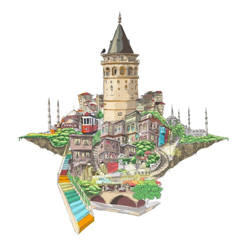 Opinión de la torre del galata de Estambul ilustración del vector