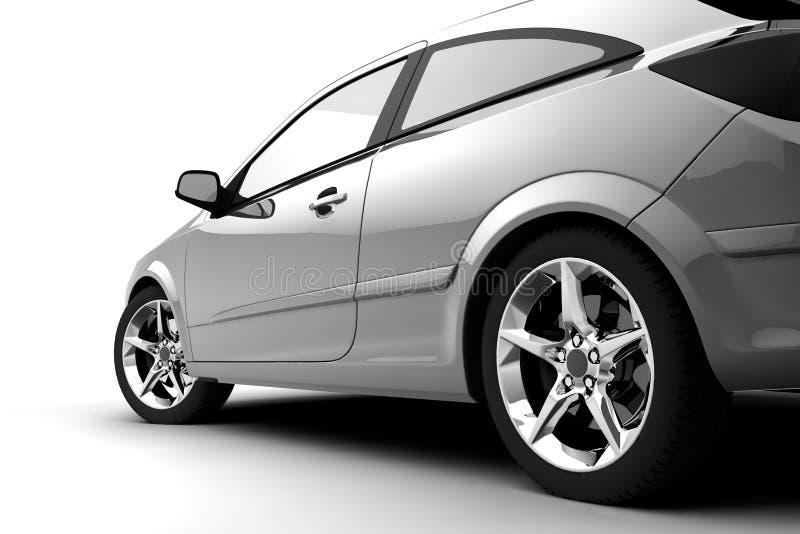 opinión de la Trasero-cara de un coche en blanco ilustración del vector