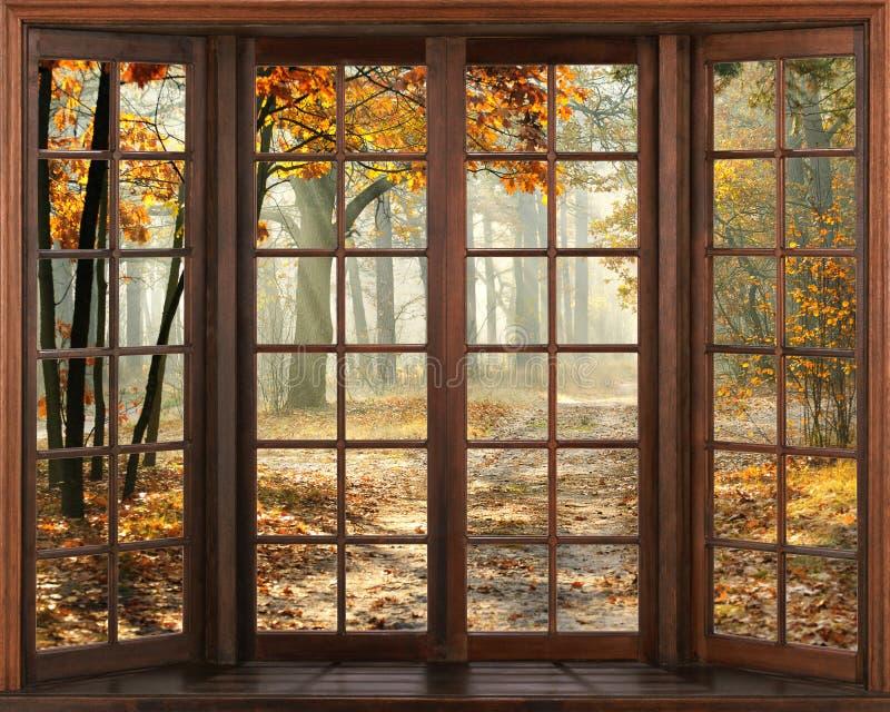 opinión de la ventana 3d Hermosa vista de la naturaleza de la ventana Autumn Landscape stock de ilustración