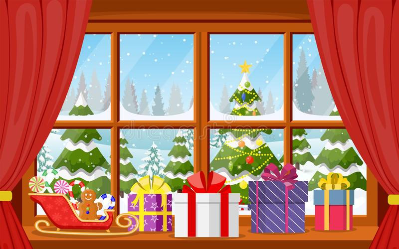 Opinión de la ventana de la Navidad con un paisaje nevoso ilustración del vector